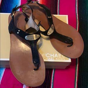 Michael Kors Gold Plate Black Sandal
